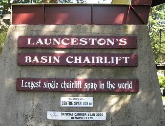 Launceston Basin chairlift sign