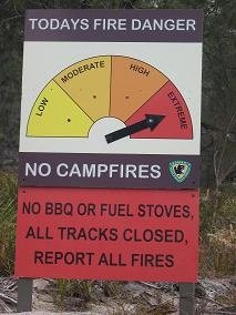 Tasmania fire danger sign