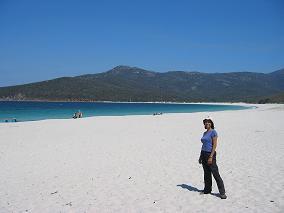 Karen at Wineglass Bay beach
