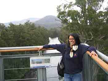 Karen on Tahune Airwalk cantilever